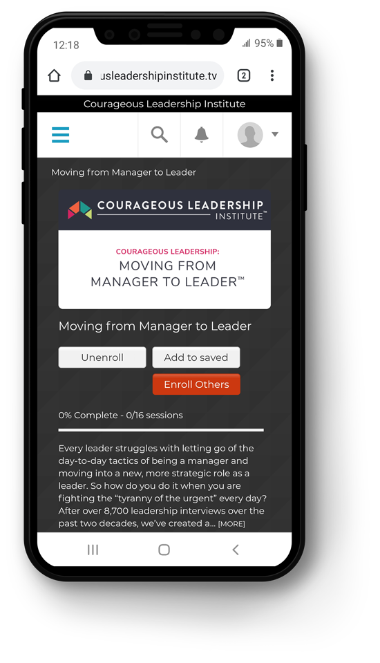 On-Demand MicroLearning on mobile device from Courageous Leadership Institute
