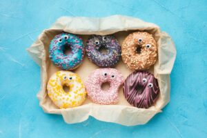 back-to-work with glazed donuts with googly eyes
